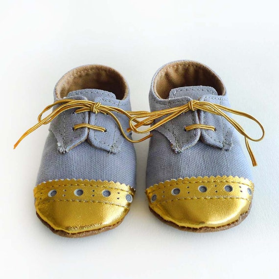 9b23239dc492b Baby Toddler Boy or Girl Shoes - Gray grey Canvas with Brogued Gold Leather  Soft Sole Shoes Oxford Wingtips Wing tips