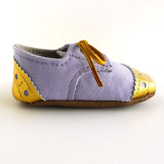 fc798cc323dc4 Baby Girl Shoes Light Purple Lilac Canvas with Gold Brogued Leather Soft  Sole Shoes Oxford Wingtips Wing tips