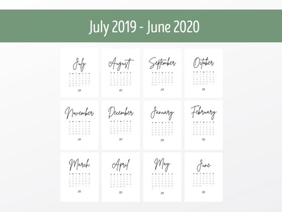 2019-2020 Calendar Printable | Desk Calendar | Minimalist Design | Digital  Calendar | Wall Calendar | School Calendar | Academic Calendar