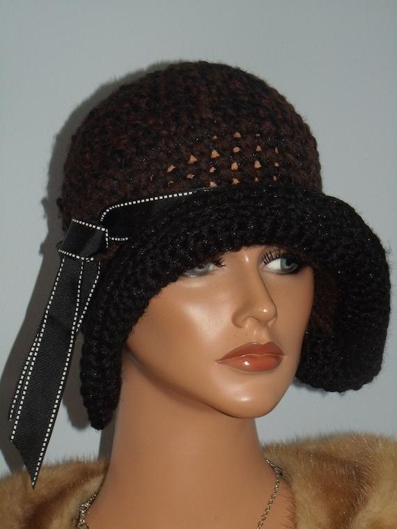 3a00d1aa2f90b Antique style Flapper Hat Cloche Crochet 1920 Theme Personalized Headdress
