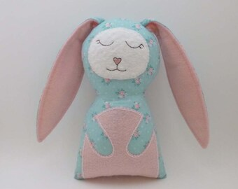 Stuffed Bunny Doll - Rabbit Plush - Soft Animal Toy - Nursery Decor Pink and Blue