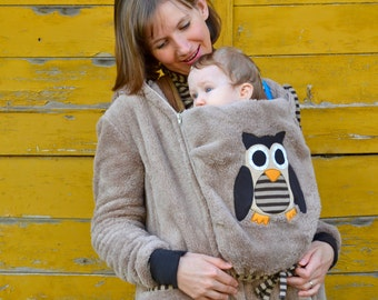Owl babywearing coat in beige with a removable panel,winter babywearing jacket,babywearing hoodie,baby carrying jacket,baby wearing jacket
