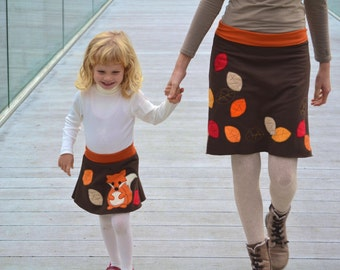 Mommy and me outfits,  mother daughter matching skirts,mother and daughter matching outfit,kids fall,fox and leaves-brown jersey