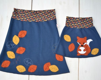 Mommy and me outfits-skirts set,mother and daughter matching outfits girl,matching mommy daughter,mother daughter,fox and leaves-blue jersey
