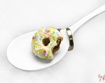 Rainbow Donut Ring, Colorful Ring Doughnut, Miniature Food Jewelry, Foodie gift Teenager, Polymer Clay Food Ring, Donut Jewelry Kawaii