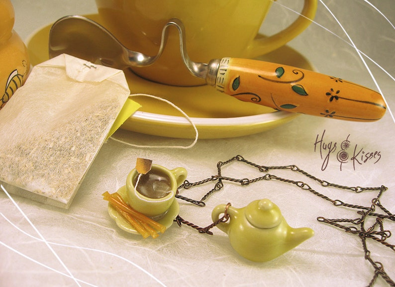Tea Lover gift,Yellow Necklace Polymer Clay British Jewelry Mini Food Jewelry Copper Necklace Tea Necklace Honey Sticks Necklace