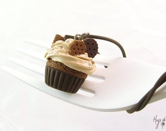 Chocolate Cupcake Charm, Mini Food Jewelry, Cupcake Jewelry, Polymer Clay Necklace, Scented Jewelry, Cupcake Necklace, Foodie Gift