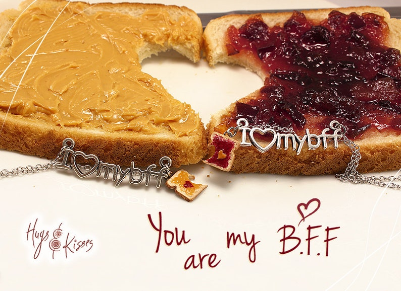 Foodie gift Friend Set of 2 Peanut Butter Necklace Jelly Sandwich Best Friends Jewelry BFF Necklaces Food Friendship Necklaces