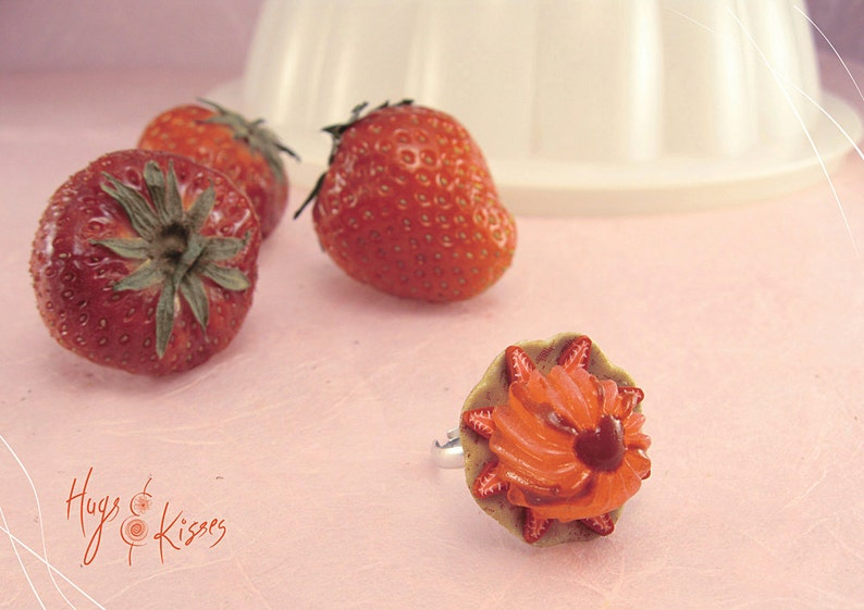 Foodie gift Summer Ring,Kawaii Jewelry Foodie Strawberries Ring Scented Strawberry Jello Ring Mini Food Jewelry Polymer Clay Food