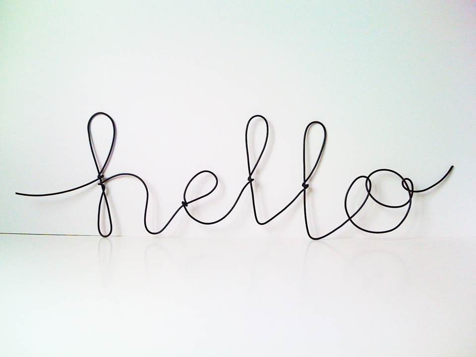 black hello plastic covered cursive wire wall word etsy