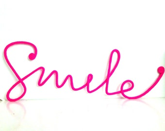 """Soft Neon Sign """"Smile"""" crochet cursive wire wall word"""