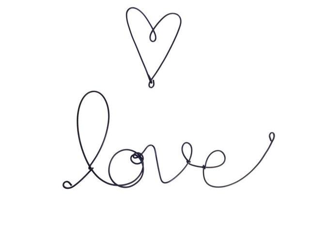 Love und Herz Kunststoff schwarz abgedeckt kursive Draht | Etsy