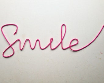 """Lace Sign """"Smile"""" soft cursive wire wall word"""