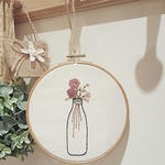 Embroidery decor, flower embroidery decor, modern embroidery, chabby chic decor, bottle hanging