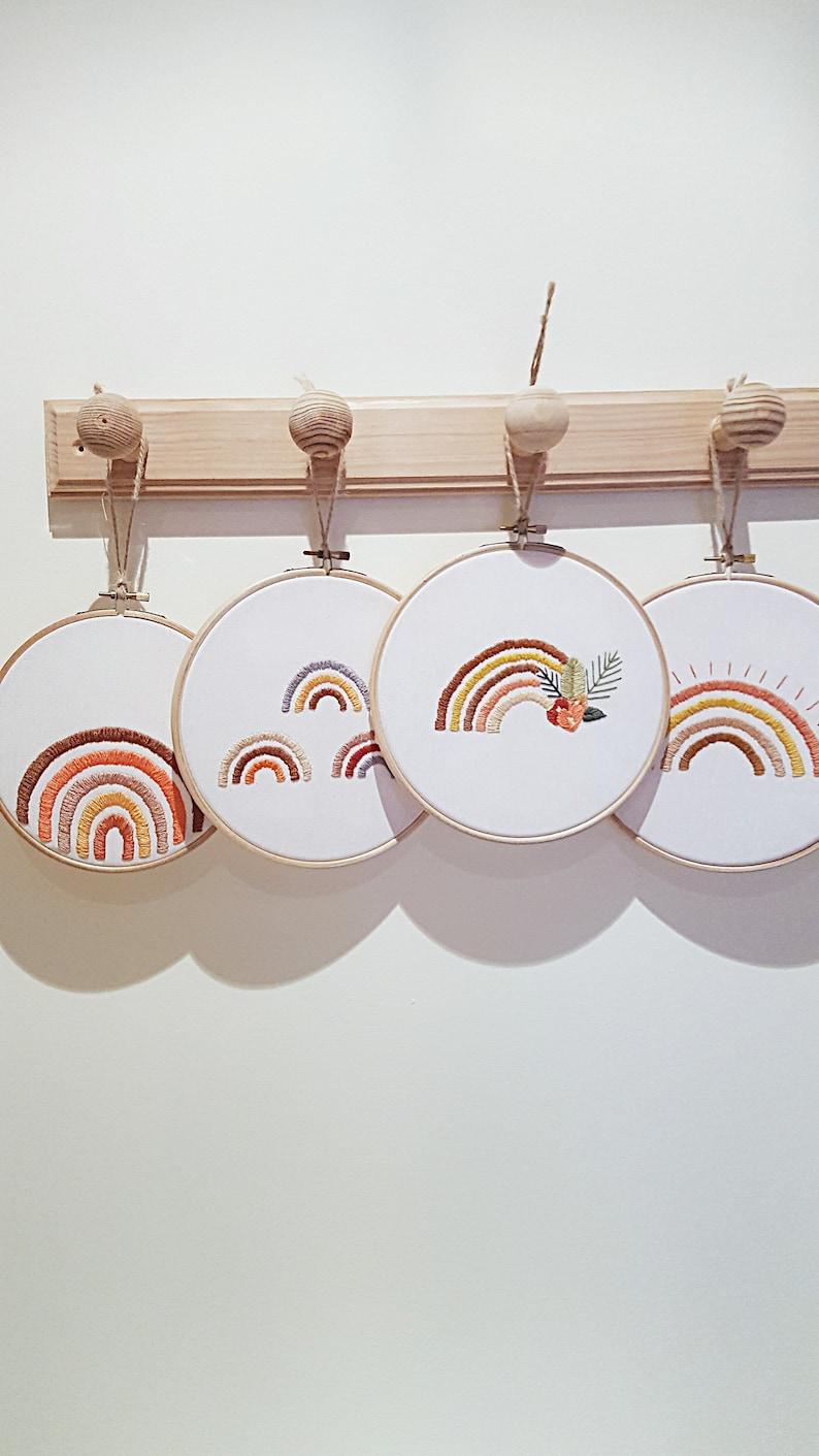 Nursery rainbow decor rainbow embroidery decor modern image 0