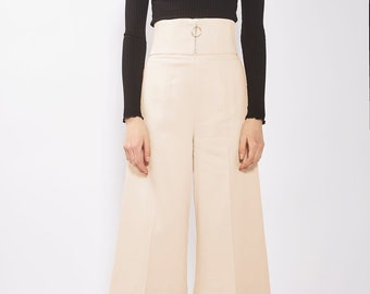 Cream White very High Waist Corset Ring Pull Zip Culottes Cropped Wide Trousers Pants Minimal