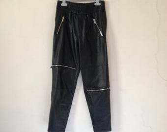 SALE 20% OFF Black Faux Leather Jogging Pants Trousers  Style Elasticated Waist Exposed Zips Cropped Length Grunge Sports Luxe