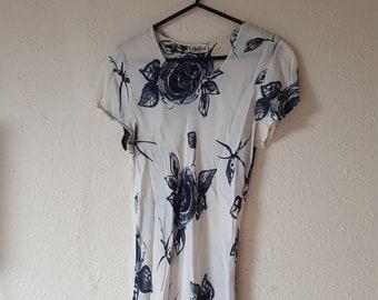 Vintage 1990's Grunge Mini Dress White Floral Short Sleeve