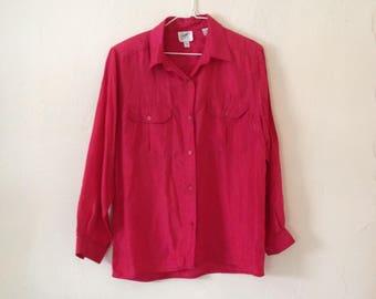 100% Silk Vintage 1980's Raspberry Pink Blouse/Shirt Small/Medium