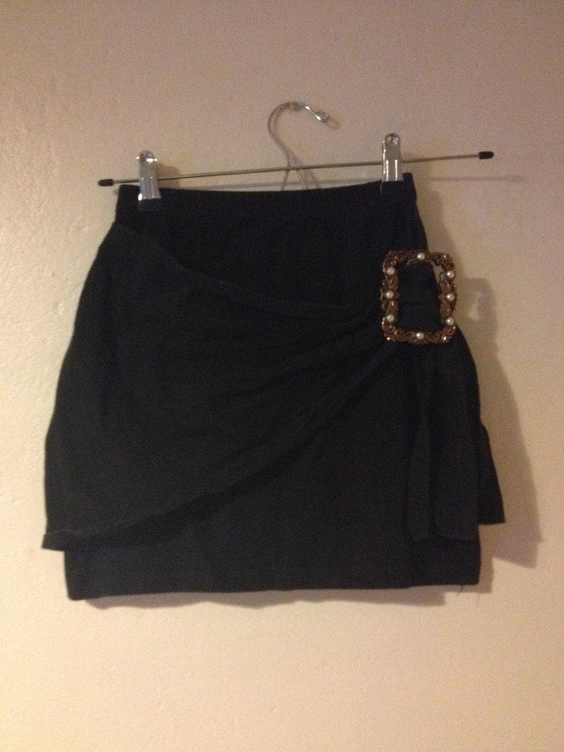 8fd2f9c6c91fed Vintage 1980's Black Mini Skirt Jersey Large Buckle Wrap | Etsy