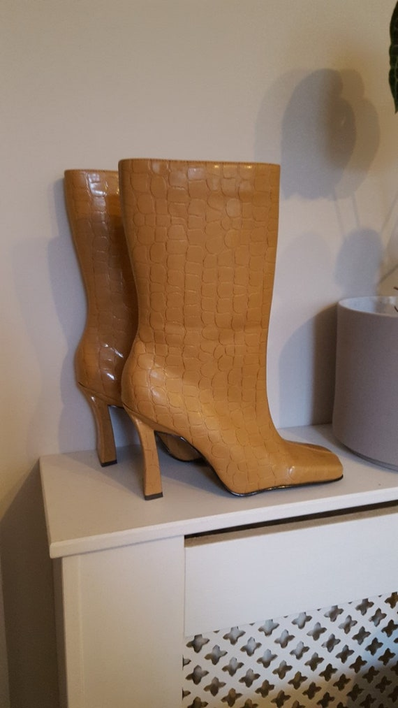 Vintage 1990's Faux Leather Crocodile Square Toe B