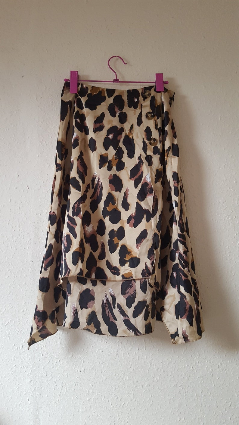 Horn Button Silky Satin High Waist Leopard Print Midi Skirt Asymmetric Hem