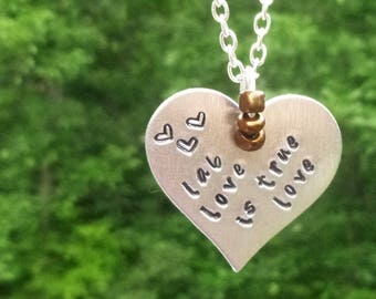 Lab Love is True Love, Silver Heart Necklace