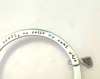 Personalized Mom or Aunt Bracelet, Stainless Steel Bangle