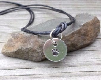Leather Paw Print Necklace, Dog Lover Jewelry