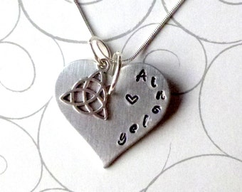 Personalized Heart Necklace with Celtic Knot