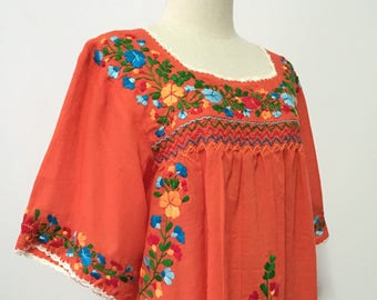 Hand Embroidered Blouse Cotton Top In Orange, Boho Blouse, Peasant Top, Oaxacan Blouse