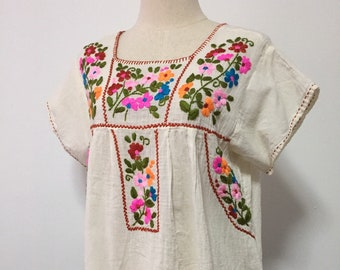 Hand Embroidered Blouse Cotton Mexican Top, Boho Blouse, Peasant Top, Hippie Top