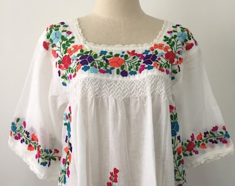 315346ab592d50 Embroidered Mexican Blouse Cotton Top In White, Boho Blouse, Oaxacan Blouse,  Peasant Top