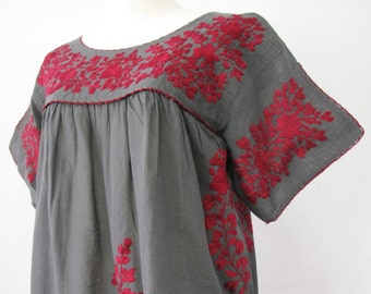 Mexican Embroidered Blouse Cotton Top Boho Blouse, Hippie Top, Peasant Blouse, Gypsy Top