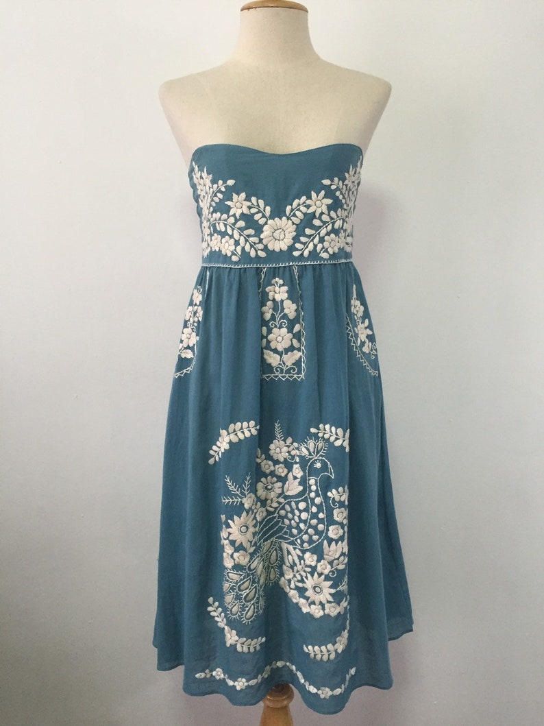 59f717f7322a1 Embroidered Mexican Dress Cotton Sundress In Blue With Lining, Boho Dress,  Beach Dress, Swim Cover Up