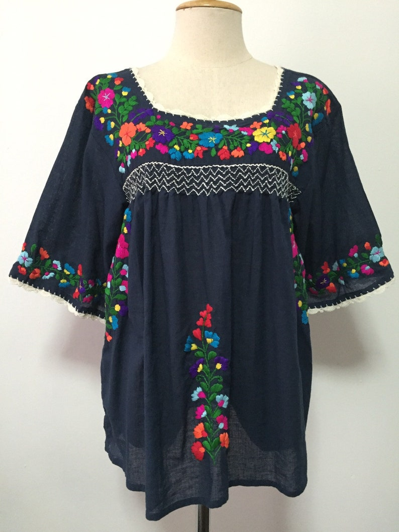 f52465426d82e Mexican Embroidered Blouse Cotton Top In Blue, Boho Blouse, Oaxacan Blouse,  Peasant Top