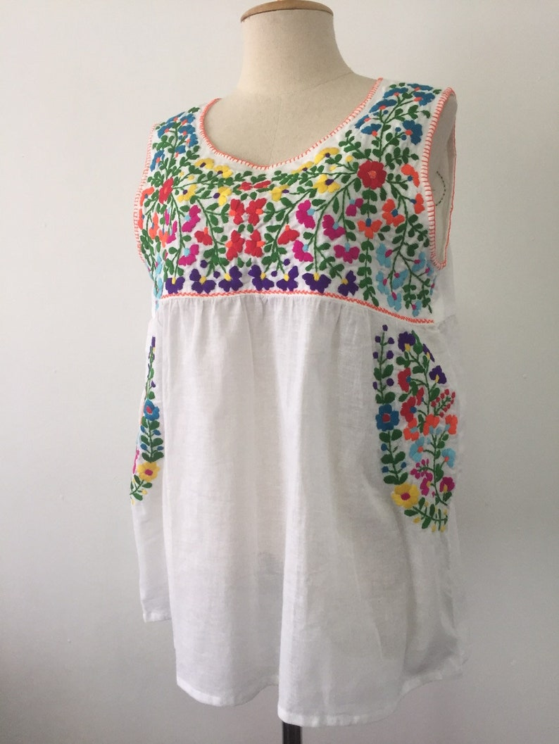 438a8436b95f8 Embroidered Mexican Sleeveless Top, Cotton Tank Top In White