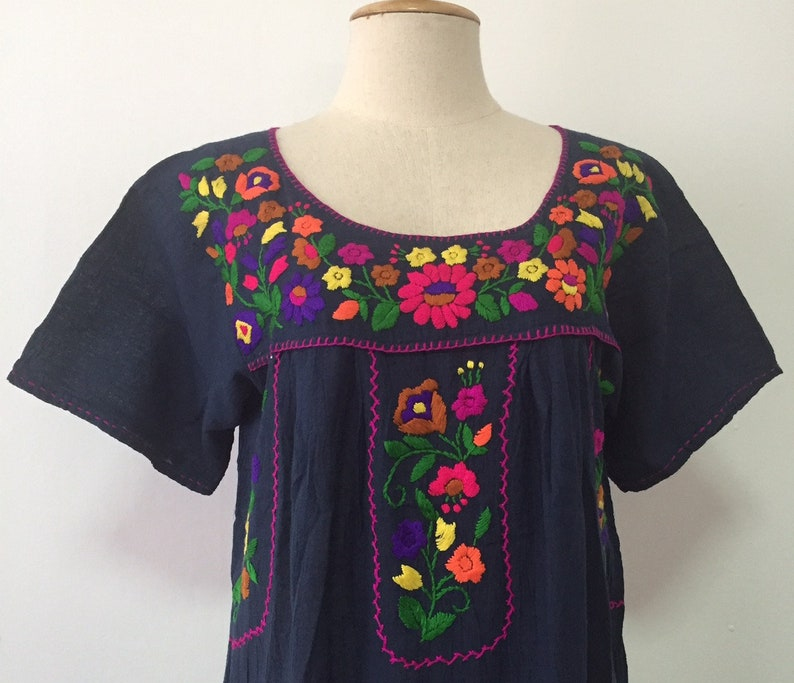 02bae50530d36 Mexican Embroidered Dress Cotton Dress In Blue, Boho Dress, Gypsy Dress