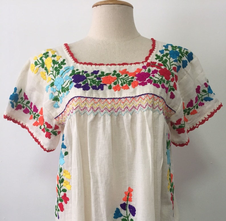 096ebcb94d2c8 Hand Embroidered Blouse Mexican Cotton Top, Oaxacan Blouse, Peasant Top,  Boho Blouse