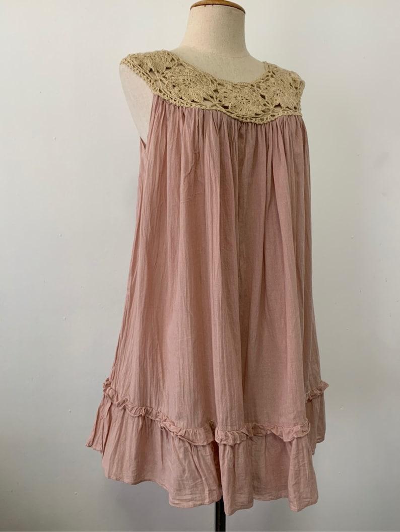 Beach Dress Cotton Dress Hand Crochet Short Dress In Pink