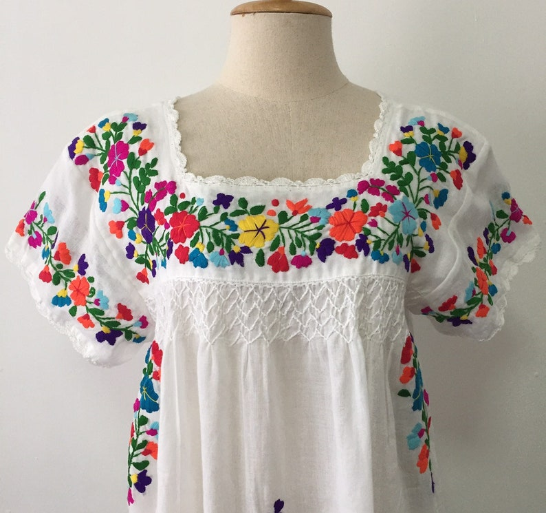 c3b59e4fc12ff Hand Embroidered Blouse White Cotton Top, Boho Blouse, Gypsy Blouse,  Peasant Top