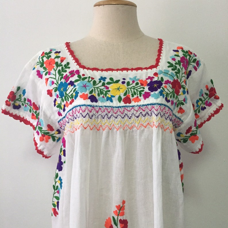 9331fd9650065 Embroidered Mexican Blouse Cotton Top In White, Hand Embroidered, Boho  Blouse, Hippie Top, Peasant Top