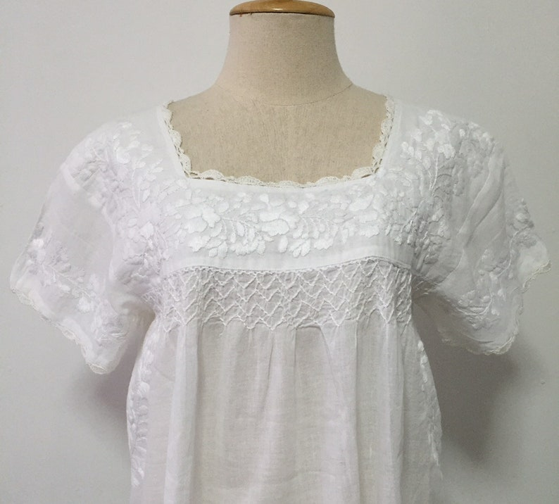 c0ff3d53816 Mexican Embroidered Blouse Cotton Top In White Boho Blouse | Etsy