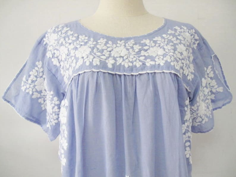 4cd60b620c9de Mexican Embroidered Blouse Cotton Top Peasant Top Oaxacan
