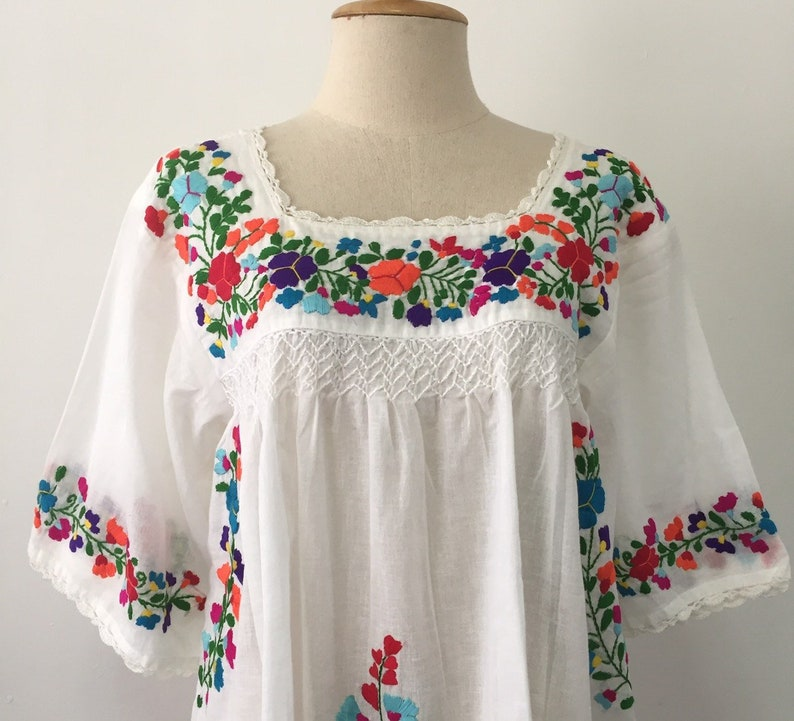 e44a3d24b56f9 Embroidered Mexican Blouse Cotton Top In White, Boho Blouse, Oaxacan  Blouse, Peasant Top