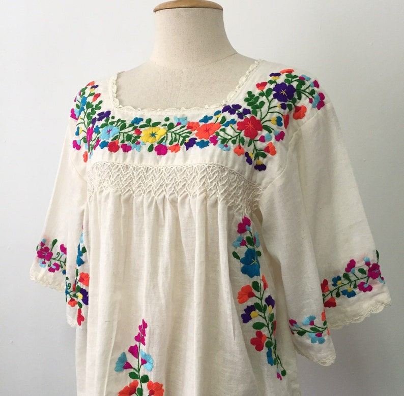 de7df58940c5d Embroidered Mexican Blouse Cotton Top, Boho Blouse, Peasant Top, Oaxacan  Blouse