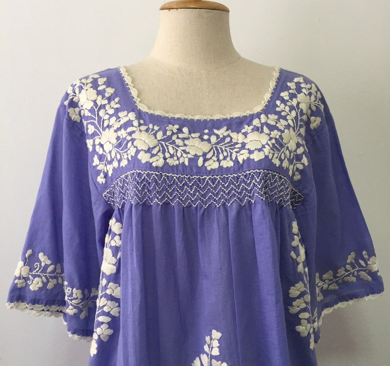 4ca22d2823596 Hand Embroidered Blouse Mexican Cotton Top, Boho Blouse, Oaxacan Blouse