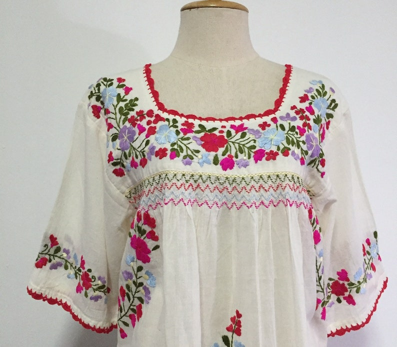 1afb6b77bd6d2 Mexican Embroidered Blouse Cotton Top, Boho Blouse, Hippie Top