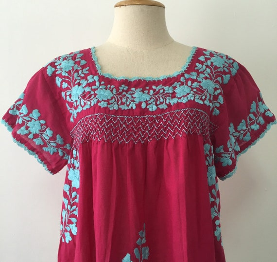 d2c54856c51e2 Hand Embroidered Blouse Cotton Top, Oaxacan Blouse, Peasant Top Mexican  Style