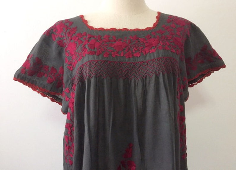 382cec15c4708 Hand Embroidered Mexican Blouse Cotton Top, Boho Blouse, Gypsy Top Bohemian  Style